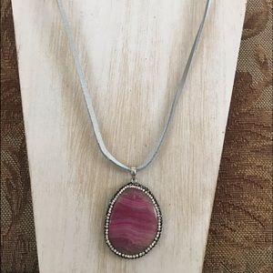 BOLD! Gorgeous pink agate necklace